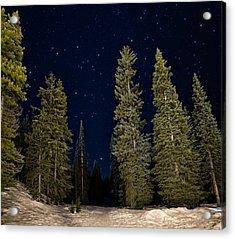 Night Snowshoeing Acrylic Print by James Wheeler