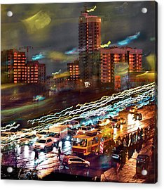 Acrylic Print featuring the photograph Night Traffic by Vladimir Kholostykh