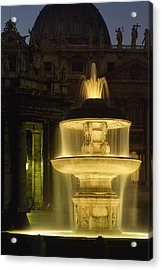 Night View Of A Fountain Outside Saint Acrylic Print by James L. Stanfield