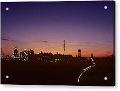 Night View Of An Industrial Plant Acrylic Print by Kenneth Garrett