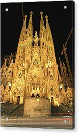 Night View Of Antoni Gaudis La Sagrada Acrylic Print by Richard Nowitz