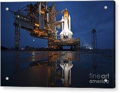 Night View Of Space Shuttle Atlantis Acrylic Print