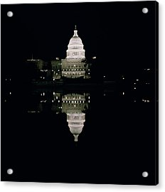 Night View Of The Capitol Acrylic Print by American School