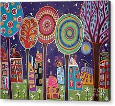 Night Village Acrylic Print by Karla Gerard