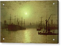 Nightfall Down The Thames Acrylic Print by John Atkinson Grimshaw