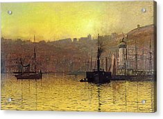 Nightfall In Scarborough Harbour Acrylic Print by John Atkinson Grimshaw