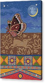 Acrylic Print featuring the painting Nightime - Tipiskaw, Cree by Chholing Taha