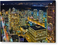 Nightlife On The Other End Of Robson Street Acrylic Print by David Gn