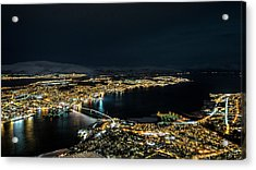 Nightscape Of Tromso Acrylic Print by Travel Quest Photography