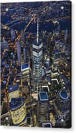 Nighttime Aerial View Of 1 Wtc Acrylic Print by Roman Kurywczak