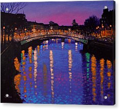 Nighttown Ha Penny Bridge Dublin Acrylic Print by John  Nolan