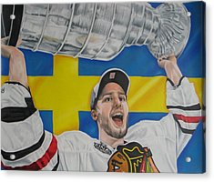 Niklas Hjalmarsson With Cup Acrylic Print by Brian Schuster