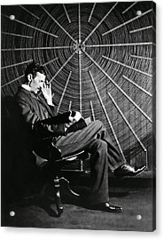 Nikola Tesla And Machine Acrylic Print