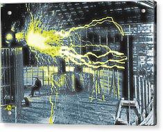 Nikola Tesla Sitting In His Experimental Station Reimagined 2 Acrylic Print by Tony Rubino
