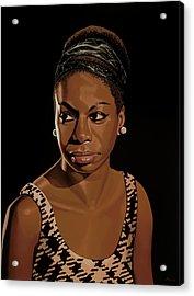Nina Simone Painting 2 Acrylic Print by Paul Meijering