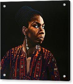 Nina Simone Painting Acrylic Print by Paul Meijering