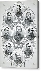 Nine Portraits Of Prominent Generals Of Confederate Army Acrylic Print by American School