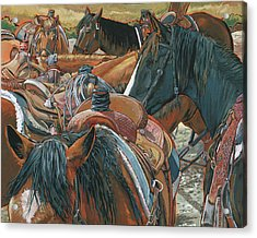 Acrylic Print featuring the painting Nine Saddled by Nadi Spencer