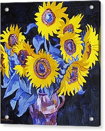 Nine Sunflowers With Black Background Acrylic Print by Vitali Komarov