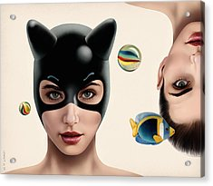 Nippon Kitty Upside Down Acrylic Print