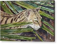 Acrylic Print featuring the painting Nirvana - Ocelot by Roxanne Tobaison