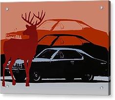Nissan 210 With Deer 3 Acrylic Print