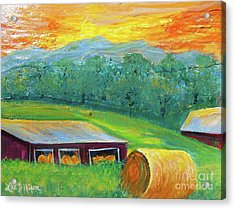 Acrylic Print featuring the painting Nixon' Colorful Farm View by Lee Nixon