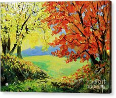 Acrylic Print featuring the painting Nixon's Colorful View Of The Blue Ridge by Lee Nixon