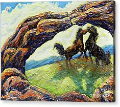 Acrylic Print featuring the painting Nixon's Horsing Around by Lee Nixon