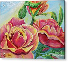Acrylic Print featuring the painting Nixon's Lovely Roses by Lee Nixon
