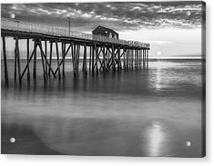 Nj Shore Pier Sunrise Bw Acrylic Print