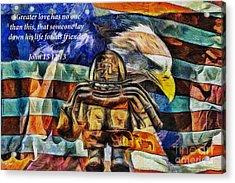 No Greater Love  Milwaukee Fd Memorial   Oil Acrylic Print