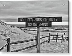 No Lifeguards On Duty Black And White Acrylic Print by Paul Ward