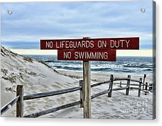 No Lifeguards On Duty Acrylic Print by Paul Ward