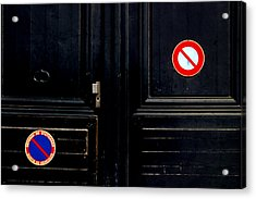 No No Acrylic Print by Jez C Self