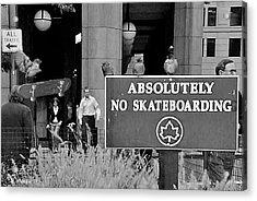 No Skateboarding Acrylic Print by Brian Wallace