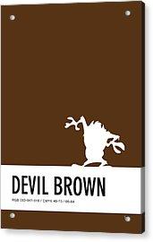 No16 My Minimal Color Code Poster Tasmanian Devil Acrylic Print by Chungkong Art