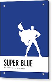 No23 My Minimal Color Code Poster Superman Acrylic Print by Chungkong Art
