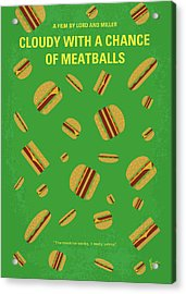 No778 My Cloudy With A Chance Of Meatballs Minimal Movie Poster Acrylic Print by Chungkong Art