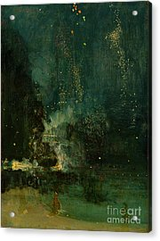 Nocturne In Black And Gold - The Falling Rocket Acrylic Print