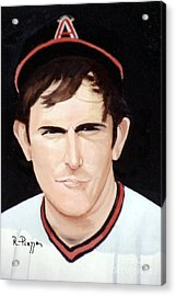 Acrylic Print featuring the painting Nolan Ryan With The Angels by Rosario Piazza