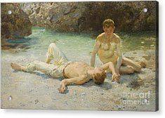 Noonday Heat Acrylic Print by Henry Scott Tuke