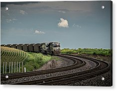 Norfolk Southern Railroad 7627 And 9825 At Princeton In Acrylic Print by Jim Pearson