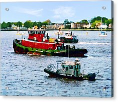 Norfolk Va - Police Boat And Two Tugboats Acrylic Print by Susan Savad