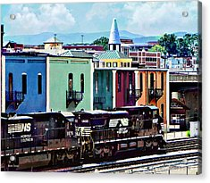 Norfolk Va - Train With Two Locomotives Acrylic Print