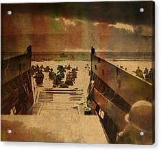 Normandy Beach On Dday World War Two Watercolor Tinted Historical Photograph On Worn Canvas Acrylic Print