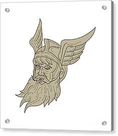 Norse God Odin Head Drawing Acrylic Print