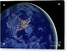 North America From Space Acrylic Print by Delphimages Photo Creations