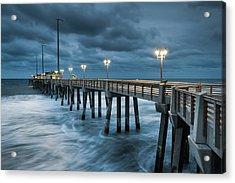 North Carolina Fishing Pier Outer Banks Acrylic Print by Mark VanDyke