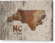 North Carolina State Map Industrial Rusted Metal On Cement Wall With Founding Date Series 022 Acrylic Print